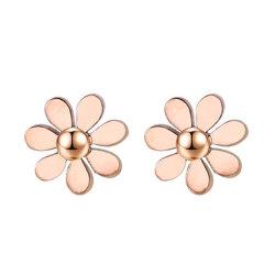 Jóias de Aço Inoxidável Rose Dourados Ear Piercing brincos brincos de flores para as mulheres