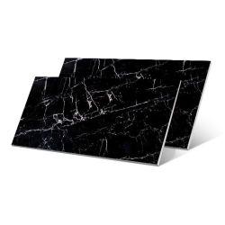 Noir profond haute brillance polies carreaux en porcelaine pour mur de fond
