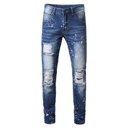 Slim Fit Ripado Calças de lápis de denim Skinny calças de ganga homens
