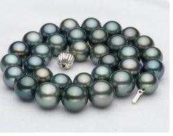 Weihnachtsgeschenk 2015! Schwarze Perle Tahitian echte Perle-Halsketten-Schmucksachen