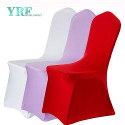Esticar a cadeira de refeições do protector de licra Capas espessas de poliéster branco para festas de casamento