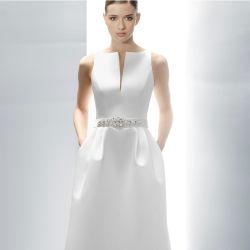 실키 새틴 브라이들 딥 V-넥 웨딩 드레스