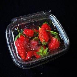 Claro grado alimenticio envasado ensalada de frutas de verificación el recipiente con tapa
