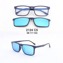 TR90 Eyeglasses frames met 5 Zonnebrillen clips gepolariseerde magnetische clip Op glazen