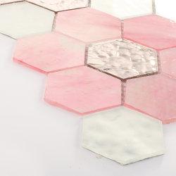 Blume Gemustertes Pink Silver Badezimmer Wandglas Fliesen Mosaik