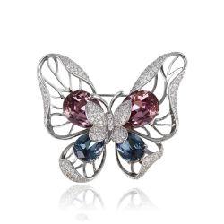 方法女性のための贅沢な宝石類の銀カラー蝶デザイン水晶ブローチ