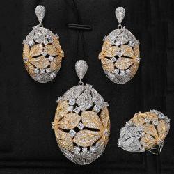 Wholsale Dubai Kubikzirconia-Stein-Halsketten-gesetzte nigerische Frauen, die Brautschmucksache-Set Wedding sind