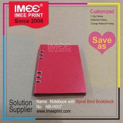 Imeeの印刷の卸売は学校オフィスの営業会議レコード緩い葉のらせんとじのハードカバーのギフトの文房具のノートをカスタマイズした