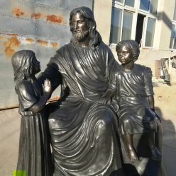 Décoration de jardin Art Statue en laiton Jésus Sculpture en bronze