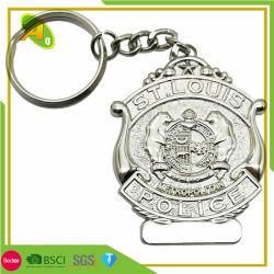 Regalos decorativos de alta calidad personalizados llavero de plata de la policía (186)