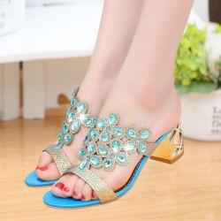 Printemps et été cool pantoufles nouvelle fleur de cuir chaussures sandales Crystal Diamond