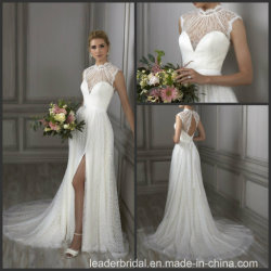Spitze-Brauthochzeits-Kleid-Sleeveless Strand A - Zeile Hochzeits-Kleid Wdo69