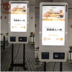 32-дюймовый автоматический заказ платежа с сенсорным экраном для самообслуживания киоск с Термопринтер, сканирования QR Code