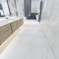 600x600 シャワーはカララ磁器の大理石の床のタイルの浴室を設計する