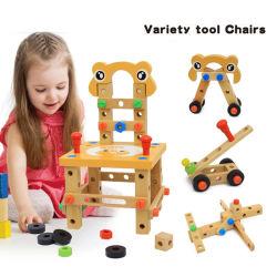 Holzschraubenblock Aktivität Arbeitsstuhl Konstruktion Kinder Holzspielzeuge (GY-W0032)