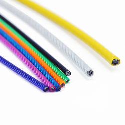 Application de corde et de carbone en PVC/PP/PE Câble en acier galvanisé recouvert de corde à linge sur le fil