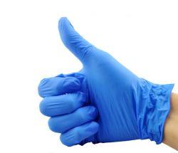 Blaue haltbare Nitril-Wegwerfhandschuhe beständig gegen Säure und Alkali zu den Lebesmittelanschaffung-Zwecken