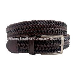 Unisex de moda Accesaries marrón correa de la cintura de malla trenzada de todos los Fit cinturón elástico Roping correas de cuero para hombres