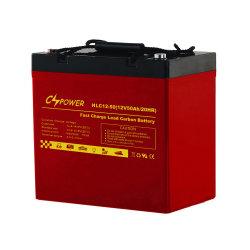 Cspower 12V 50Ah Cable de carga rápida de alta calidad de la batería de cartón con 20 años Sweeper/tranvía/carretilla/carro de golf/Bicicleta eléctrica/herramientas eléctricas