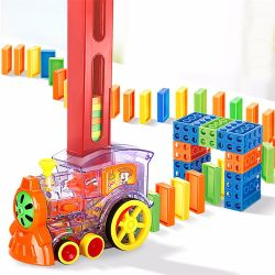 2021 Transparent Automatic Domino Train Toys Dominoes Game for Kids 재생
