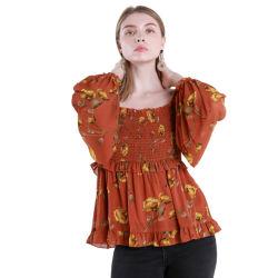 Conception humanisé Tops à manchon long Orange personnalisables pour les filles Tee-shirt imprimé floral en mousseline femelle Ladies' Blouses