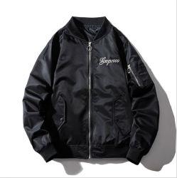 Bespoke Japonês Logotipo Populares High Street Jaqueta Bordada Air Force Ma-1 Bomber Jacket homens jaqueta de beisebol preto