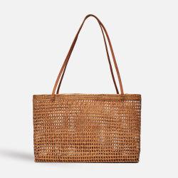 Última Moda Senhora Vime feitos à mão bolsa com alça de couro