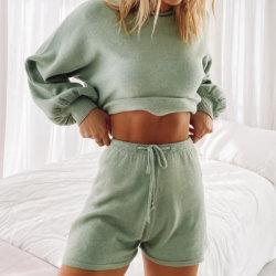 Personalisierbare Damen 2-Teilig Rundhalsausschnitt Langarm-Sleepwear Bequem Unifarbener Pullover-Schlafanzug Strickhose Kurz-Set
