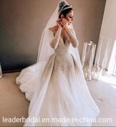 Роскошные жемчужины устраивающих платья длинными рукавами Puffy свадебные платье 2021 H1237