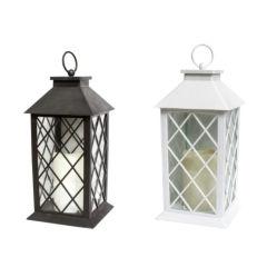 Outdoor Antique Velas LED Lanterna Solar Cor Branco/Preto