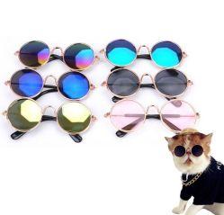 猫の小さいDogspuppyの衣服のためのFunny Cute Pet Sunglasses標準的なレトロの円の金属の王子