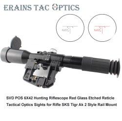 戦術 6X42 視力赤照光式 SVD Ak ライフルスコープ POS-1 エッチングされた FFP レチクルハンティング Sniper SVD ライフルスコープ