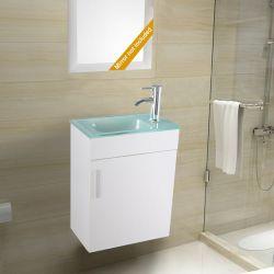"""Salle de bains blanche 19"""" de la vanité petit évier en verre de montage mural du robinet de vidange P piège Combo"""