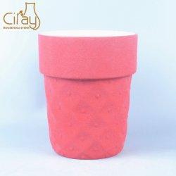 5 de duim verglaasde Ceramische Pot met Matte Rode Kleur