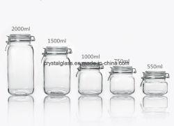 El almacenamiento de alimentos cocina claro sello hermético Lock Jar/Tapa Frasco de vidrio con clip de metal