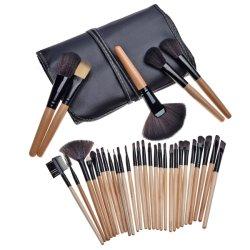 PINSEL-Gesichts-Puder kosmetischer professioneller ovaler Kabuki Reinigungs-Verfassungs-Pinsel der Großhandelserstklassigen synthetischen silbernen Basis-32PCS mischen