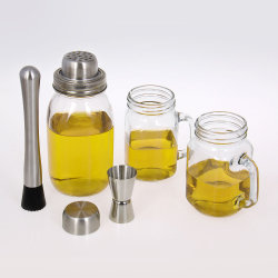 安いガラスのカクテルシェーカーの家の棒セットワインシェーカーボストン Mason JAR 付きシェイカー