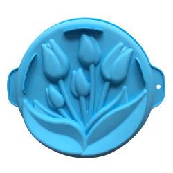 Forma redonda com pão do molde de cozedura Cozinha Silicone Ware, Tulip moldar a placa de bolo