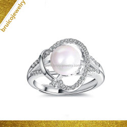 女性のための卸し売り白い金カラー宝石類の方法宝石類925の純銀製のリングの真珠