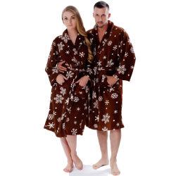 Paar-weicher korallenroter Vlies-warmer Winter gedruckter Schneebrown-Bademantel für Mann-Frauen