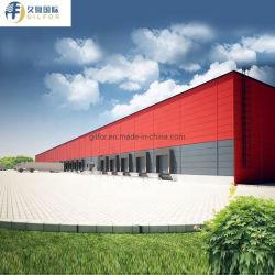 تصميم معمارى صينى هيكل مبنى فولاذي للمستودع مع الخارج لوحات السندويتشات