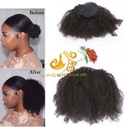 """#1b off Black Curly Afro 4b4a 8""""-26"""" Remy Extensiones de Cabello Humano Ponytail en stock"""