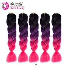 100g/Pack 24pouces tresses de cheveux Kanekalon Jumbo Ombre de couleur à deux tons poils synthétiques pour les poupées Crochet sèche