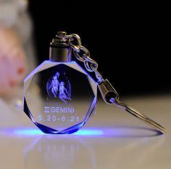 Sleutelring van Laser Crystal Glass LED van de manier 3D