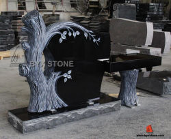 Shanxi-schwarzer Granit-amerikanischer Art-Baum-Form Monument&Tombstone Prüftisch