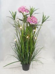 Искусственные Цветы искусственные герметизированное завод со светодиодной лампы в пластиковых сеялку для украшения для установки внутри помещений