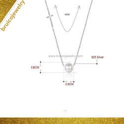 女の子のための新しいデザイン白い金カラーロジウム純銀製の宝石類の真珠のネックレス