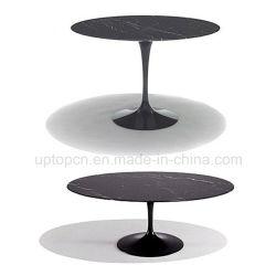 Mobiliario de restaurante Black Galaxy blanco mármol de Carrera Eero Saarinen réplica Tulip mesa ovalada
