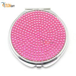 Design de luxe charmant métallique circulaire fille d'accessoires de mode miroir de maquillage