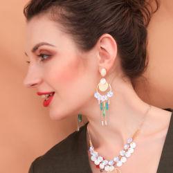 도매 주문 패션 다이아몬드 피셀 펄 지르콘 알로이 타셀 실버 Shell 귀금속 모방